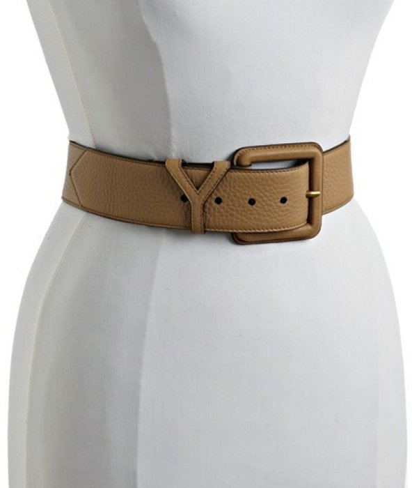 Yves Saint Laurent sand leather 'Y' wide belt