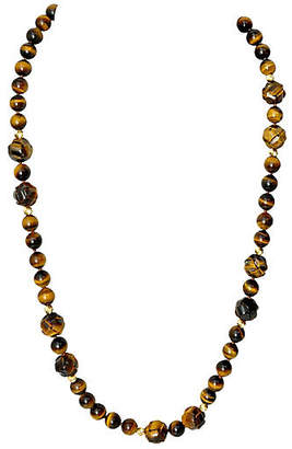 One Kings Lane Vintage Tiger's Eye & 14K Gold Necklace