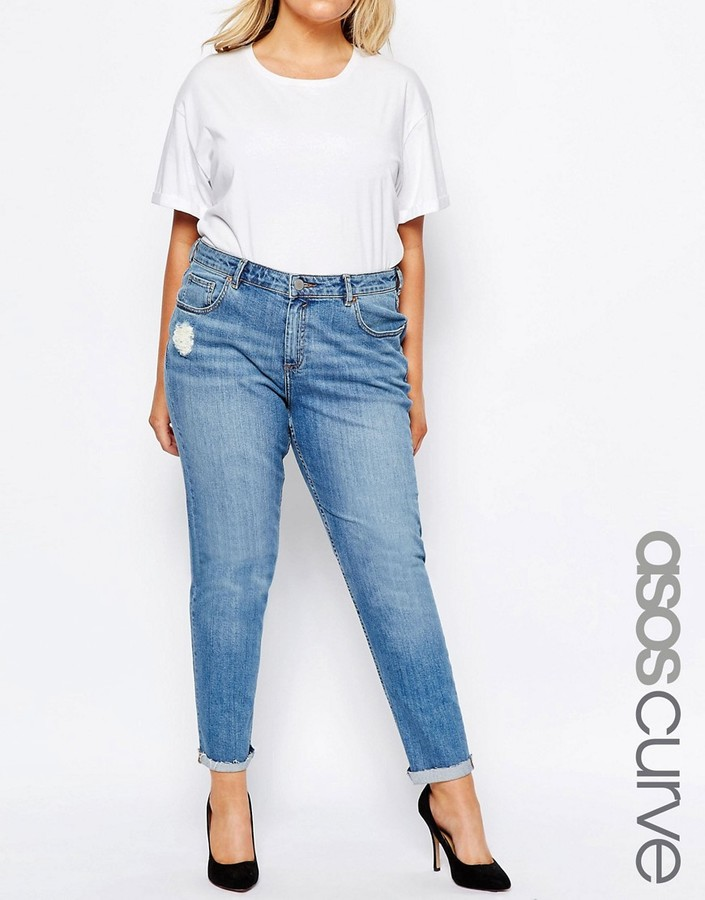 ASOS Curve ASOS CURVE Kimmi Shrunken Boyfriend Jeans In Lily Wash With Rip And Repair