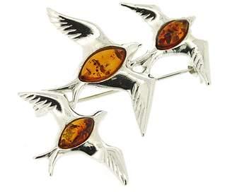 Nova Silver Classic Amber 3 Swallows Brooch