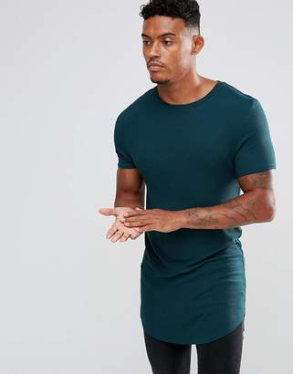 Asos Super Longline Muscle Rib T-Shirt With Curved Hem In Khaki