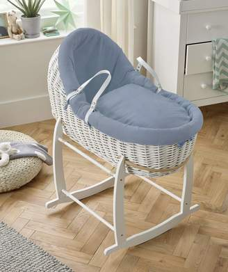 Clair De Lune Cotton Dream White Willow Bassinet - Blue