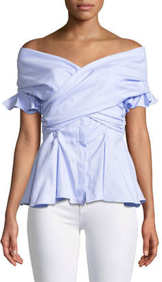 Jonathan Simkhai Wrapped Hook-Back Off-the-Shoulder Peplum Oxford Top