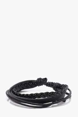 BoohoomanBoohooMAN Mens Black Leather Multi Brand Bracelet, Black