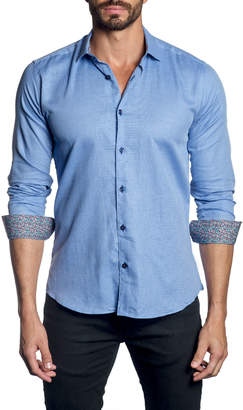 Jared Lang Men's Long-Sleeve Button-Down Shirt w/ Contrast Facing