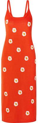 Mansur Gavriel Embroidered Stretch Linen-blend Dress