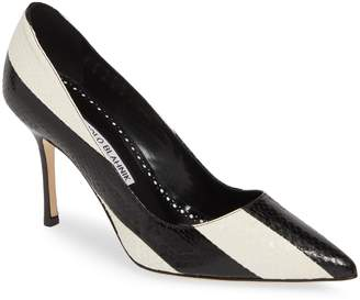 Manolo Blahnik Pointy Toe Stripe Pump