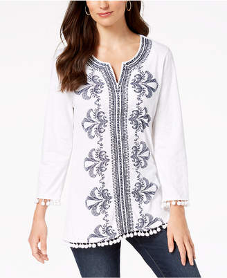 Charter Club Cotton Embroidered Pom-Pom Top