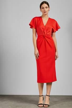 bbbaf9409 Next Womens Ted Baker Orange Ellame Wrap Over Full Sleeve Bodycon Dress