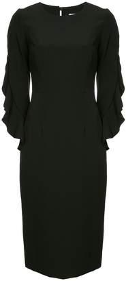 Milly ruffled sleeve midi dress