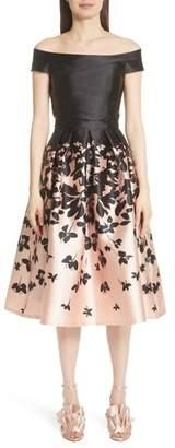 Carmen Marc Valvo Couture Off the Shoulder Midi Dress