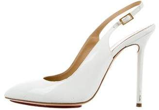 Charlotte Olympia Patent Leather Slingback Pumps