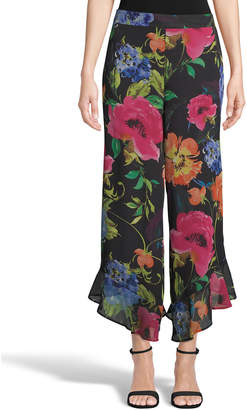 5Twelve Floral Ruffle Flare-Leg Chiffon Pants