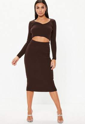 Missguided Chocolate Co Ord Ribbed Knit Midi Skirt