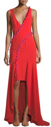 Galvan Sleeveless Plunging Crepe High-Low Evening Gown w/ Tassel Trim