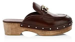 Salvatore Ferragamo Women's Cleome Wood & Leather Mules