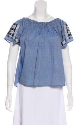 Ulla Johnson Short Sleeve Off-The-Shoulder Top