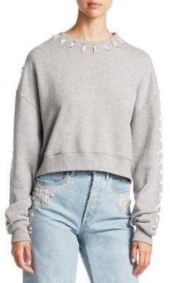 Jonathan Simkhai Whipstitch Cotton Cropped Sweatshirt