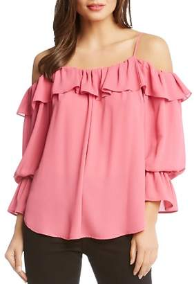 Karen Kane Ruffled Cold-Shoulder Top