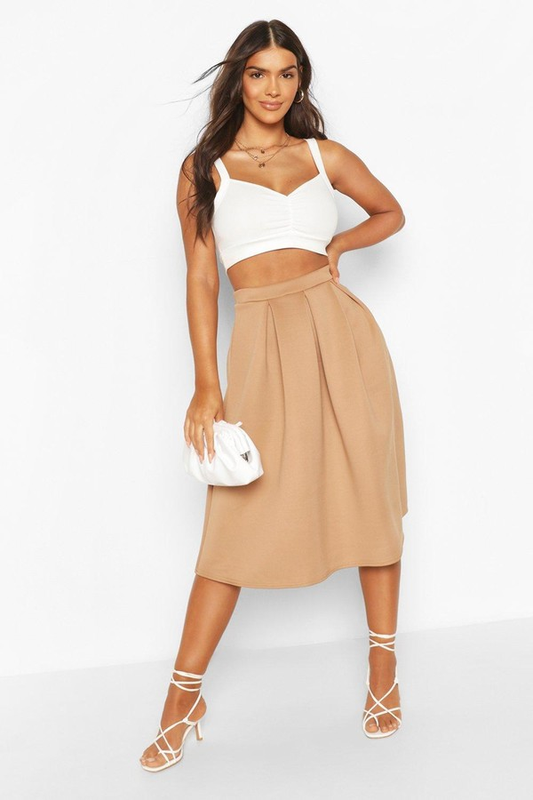 boohoo beau box pleat midi skirt shopstyle co uk