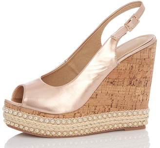Quiz Rose Gold Slingback Wedge Heels