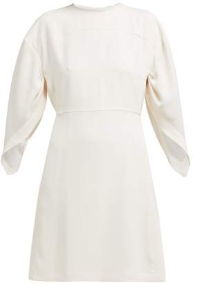 Chloé Draped Sleeve Crepe Mini Dress - Womens - Cream