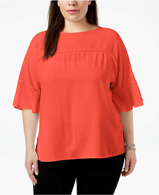 Nine West Plus Size Flutter-Sleeve Top