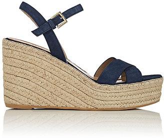 Barneys New York Women's Suede Platform-Wedge Espadrille Sandals $275 thestylecure.com