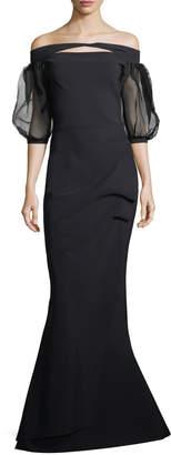 Chiara Boni Saida Organza Sheer Half-Sleeve Mermaid Gown