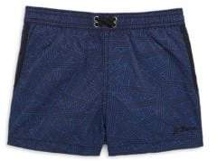 Little Boy's Triangle-Print Swim Shorts