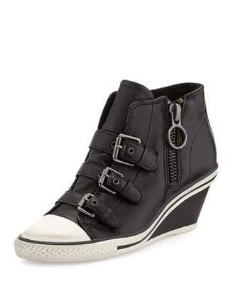 Ash Gin Bis Buckled Leather Wedge Sneaker $159 thestylecure.com