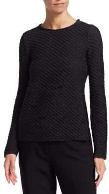 Emporio Armani Textured Long-Sleeve Smocked Top