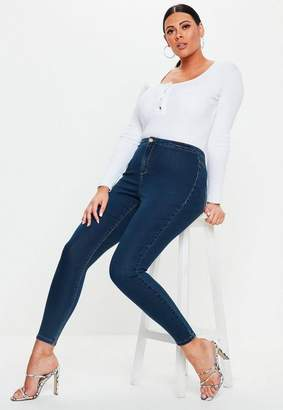 Missguided Plus Blue High Waisted Skinny Jeans