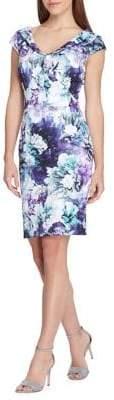 Tahari Arthur S. Levine Cap-Sleeve Floral Scuba Sheath Dress
