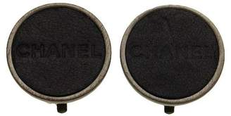 Chanel CC Logo Black Leather Round Earrings