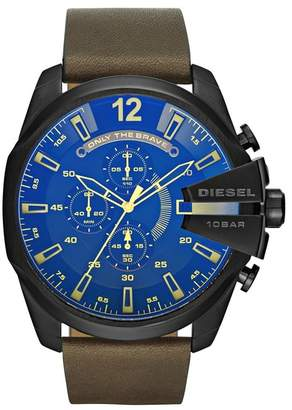 Diesel Men's Mega Chief Chronograph Leather Strap Watch, 55mm