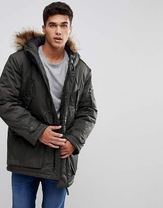 Celio Parka With Faux Fur Hood In Khaki
