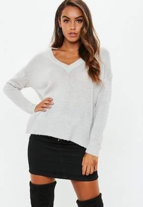 Missguided Grey V Neck Oversized Sweater
