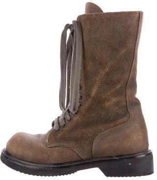 Rick Owens Lace-Up Suede Boots $325 thestylecure.com