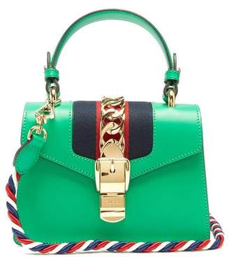 Gucci Sylvie Mini Leather Shoulder Bag - Womens - Green