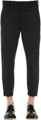Neil Barrett Slim Wool Blend Gabardine Pants W/ Zips