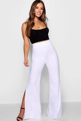 boohoo Petite Split Side Flare Trouser