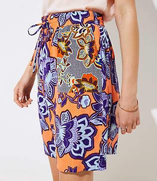 LOFT Floral Pocket Drawstring Skirt