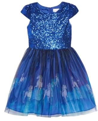 Little Angels Unicorn Print Mesh & Sequin Dress