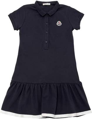 Moncler Cotton Piqué Dress W/ Logo Detail