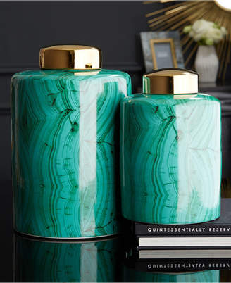 Twos Company Set of 2 Malachite Pattern Tall Tea Jars with Gold Metallic Lid