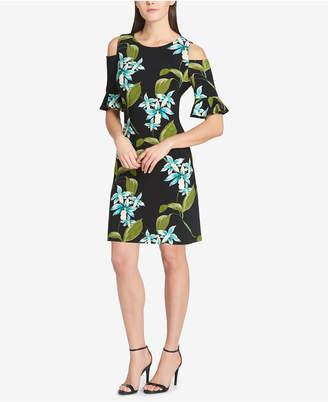 Tommy Hilfiger Floral Cold-Shoulder Jersey Dress