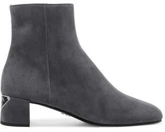 Prada Logo-appliquéd Suede Ankle Boots - Gray