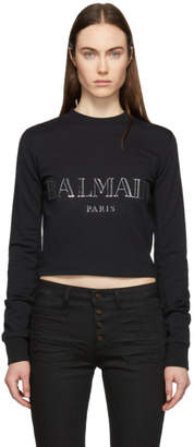 Balmain Black Cropped Logo Sweatshirt