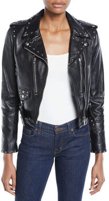 RE/DONE The Studded Cropped Leather Moto Jacket